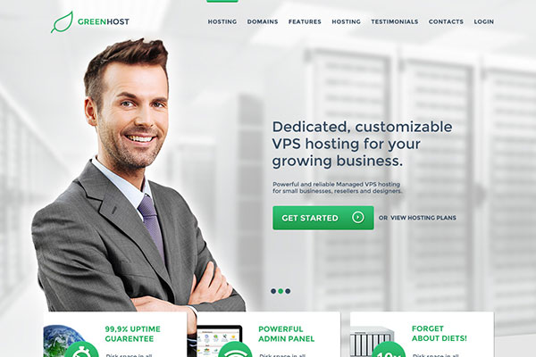 GreenHost - One Page Business / Hosting Template