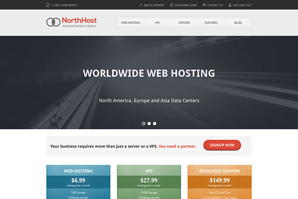 North Host - Web Hosting, Responsive HTML Template