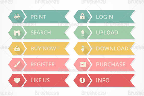 Flat Web Buttons PSD Set