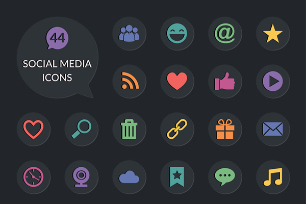 40 Social Media Icons Set Free PSD