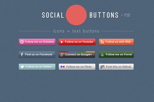 9 Social Media Follow Buttons PSD