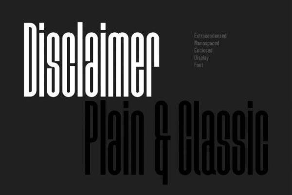 Disclaimer free font